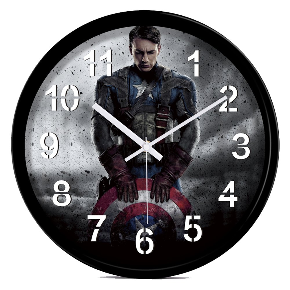 YOURNELO Creative Cool The Avengers Silent Wall Clock (Captain America 1)