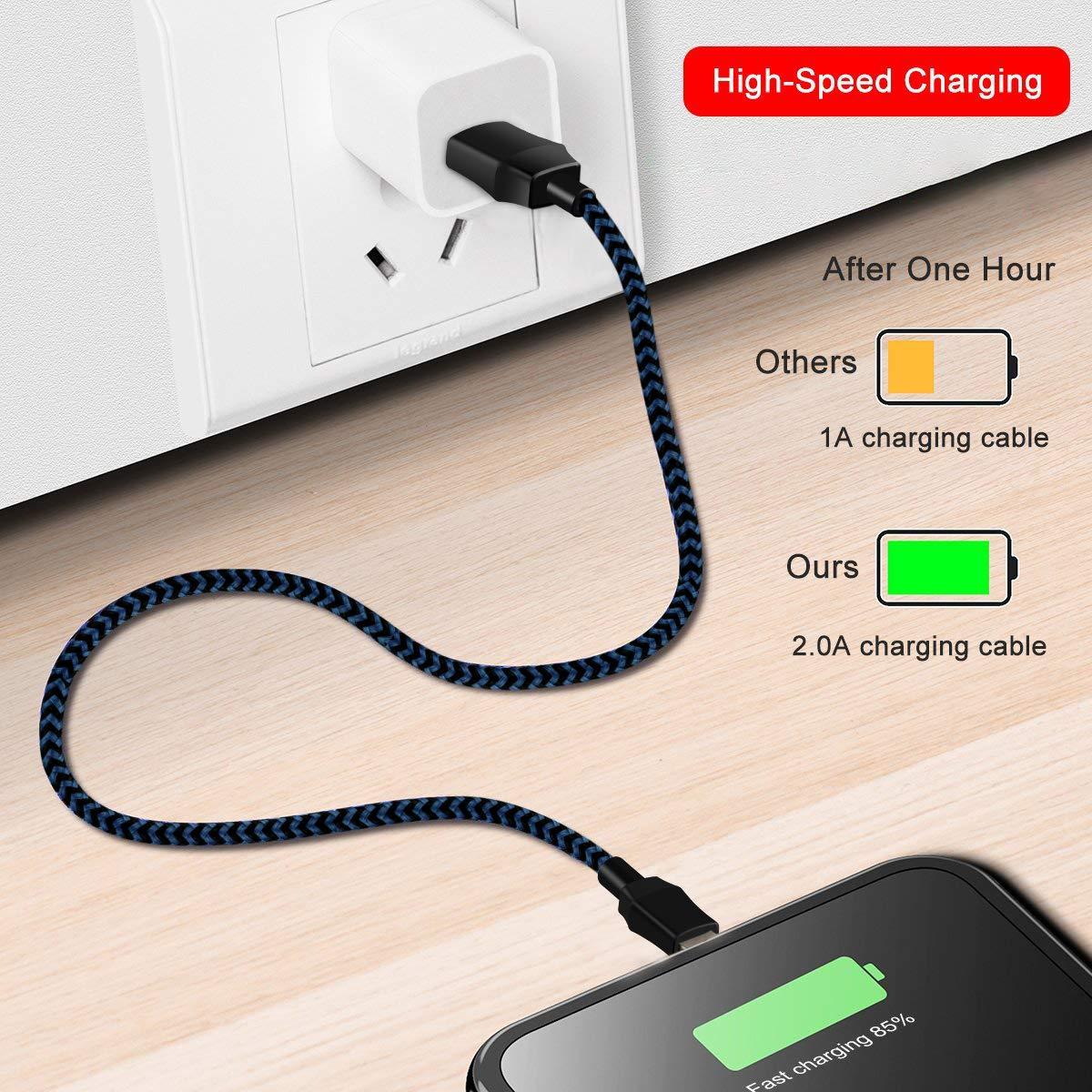 amazon com suanna phone charger 3pack 10ft nylon braided charging rh amazon com