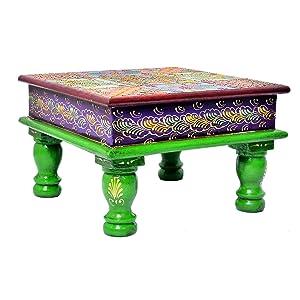 Jaipur handicrafts hub - Taburete de Madera Hecho a Mano para Rezar a Diario