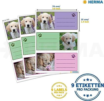 formato 7 HERMA 5512/Etichette Nome Quaderno per la scuola 6/X 3 5/cm Contenuto della confezione: 9/Etichette Cani motivo