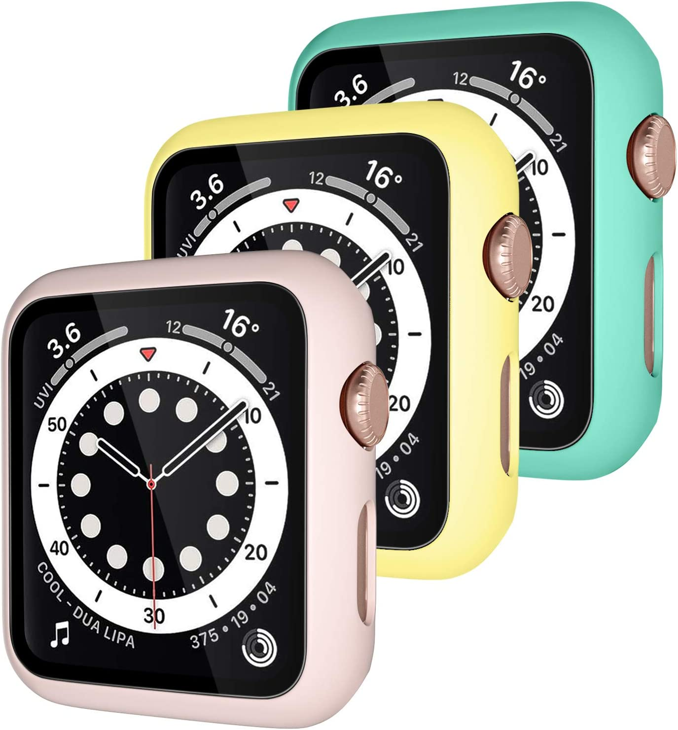 Henva [3 Pack] Protector Case Design for Apple Watch 40mm/SE with HD Tempered Glass, PC Full Coverage Protective Case Compatible with iWatch Series 6/5/4, Yellow, Blue Sea, Pink