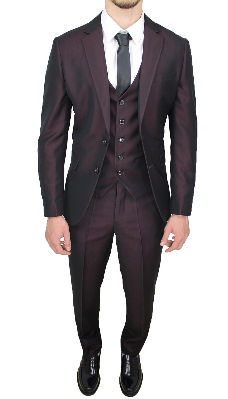 Abito completo uomo sartoriale bordeaux elegante con gilet in coordinato CC30123