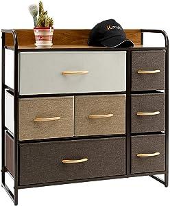Kamiler 7-Drawer Dresser, 3-Tier Storage Organizer, Tower Unit for Bedroom/Hallway/Entryway/Closets - Sturdy Steel Frame, Wooden Top, Removable Fabric Bins