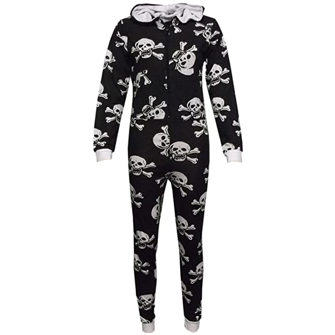 3f0cb133973e Amazon.com  Girls Boys Onesie Kids Skull   Cross Bone Onesies All in One  Jumpsuit PJ s 5-13Y  Clothing