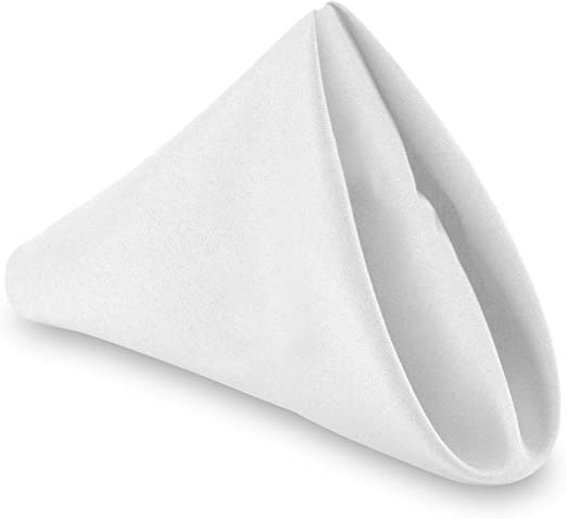 Amazon Com Lann S Linens 1 Dozen 20 Oversized Cloth Dinner Table Napkins Machine Washable Restaurant Wedding Hotel Quality Polyester Fabric White Home Kitchen