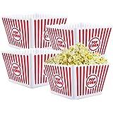 Bekith Open-Top Plastic Reusable Popcorn Tub, Square, Set of 4