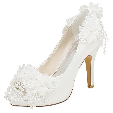 Emily Bridal Elfenbein Hochzeit Schuhe High Heel Peep Toe Blumen Perlen Slip on Pumps