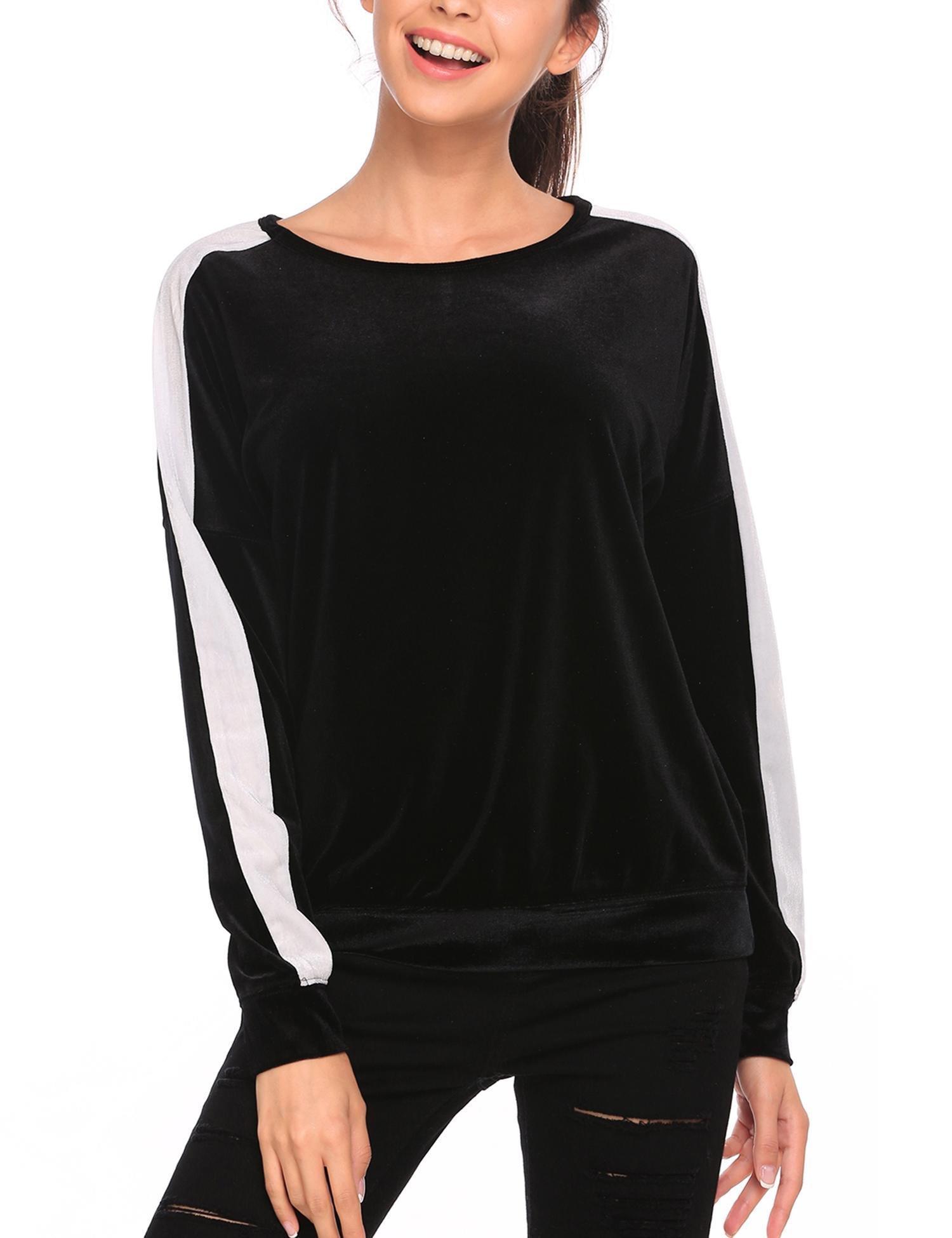 Zeagoo Women Black Velvet Shirts Top Crew Neck Blouse Loose Fit Sweatshirt