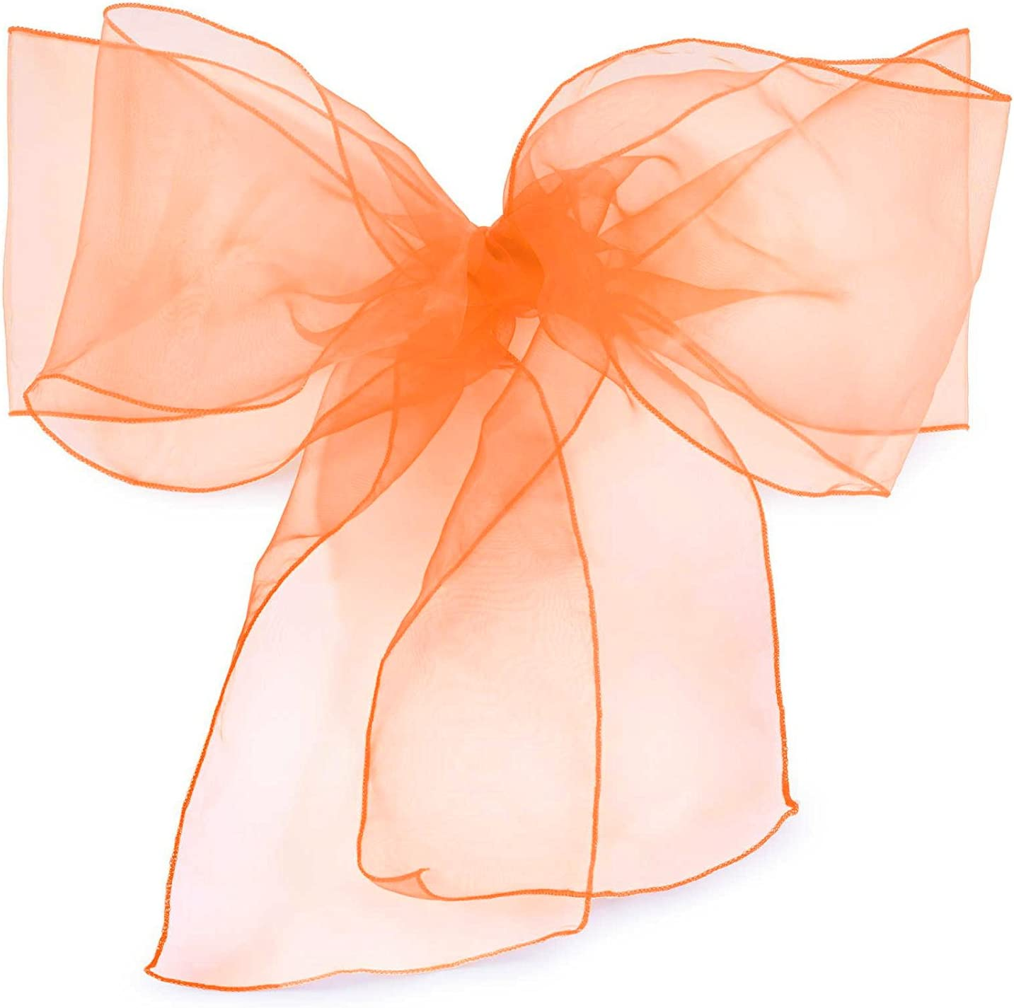 Elina Home Pack of 10 Organza Net Chair Cover Bow Sash Wedding Banquet Decor Coral (10, Coral)