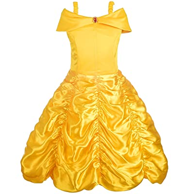 Alead Disfraz de Princesa Belle Vestido y Accesorios, Guantes, Tiara, Varita y Collar: Ropa y accesorios