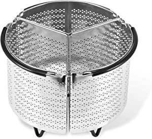 3-Piece Stainless Steel Divided Steamer Basket for Pressure Cooker Compatible, Steamer Basket Rust-Proof Sturdy Strainer Insert Can 3-in-1 (6QT)