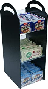 HAITIAN Coffee Condiment Snack Organizer Dividable Compartments for both Office and Home use, Handmade of Black ABS Sheet and Clear Perspex Front Panel, Stable and Machine Washable