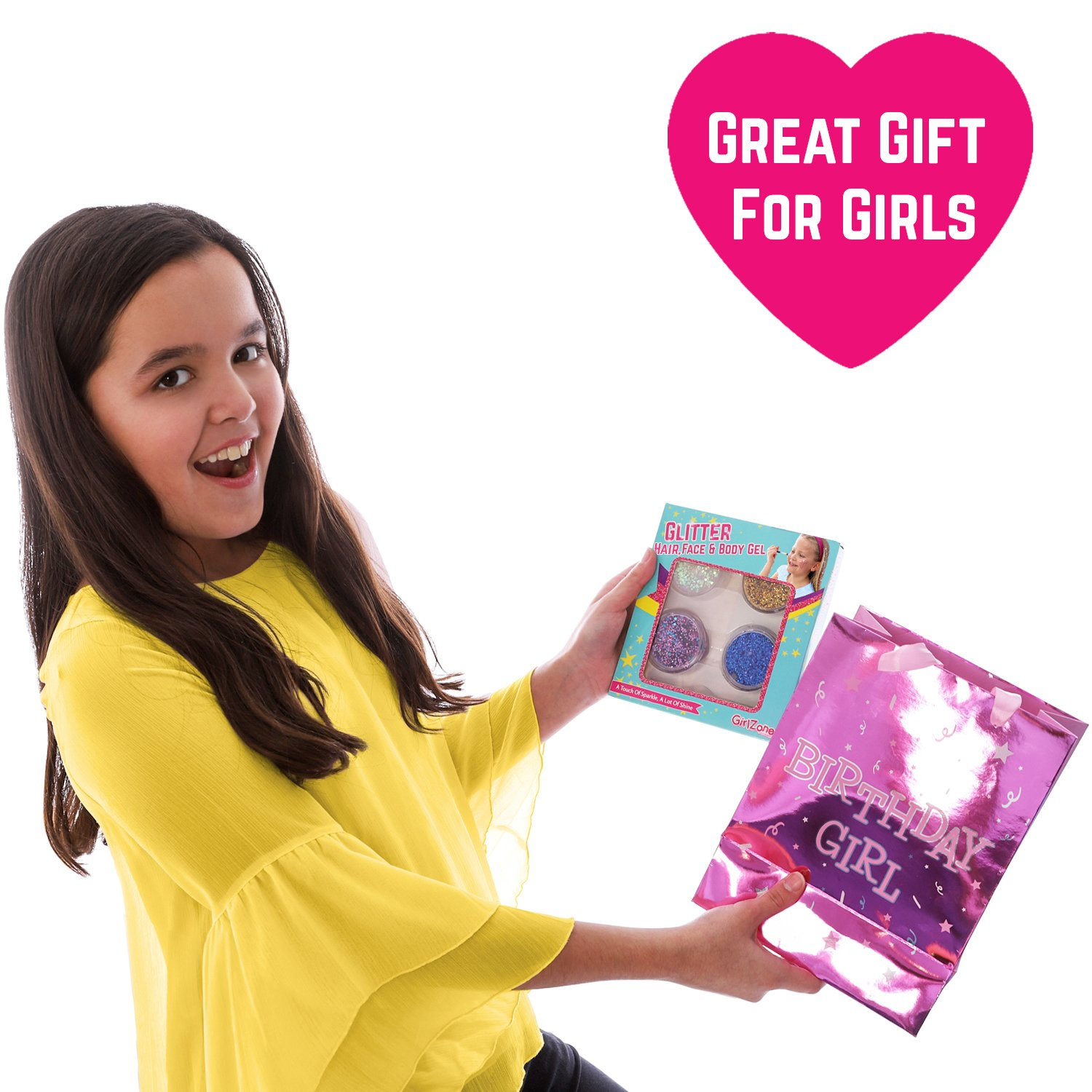 GirlZone GIFTS FOR GIRLS: Face, Hair & Body Cosmetic Glitter Makeup. Great Gift, Birthday Present Idea For Girls 4 5 6 7 8 9 10 years old plus. by GirlZone (Image #6)
