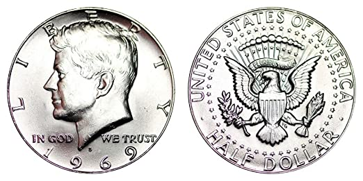 1969 D Kennedy Half Dollar 40/% Silver 1//2 Brilliant Uncirculated