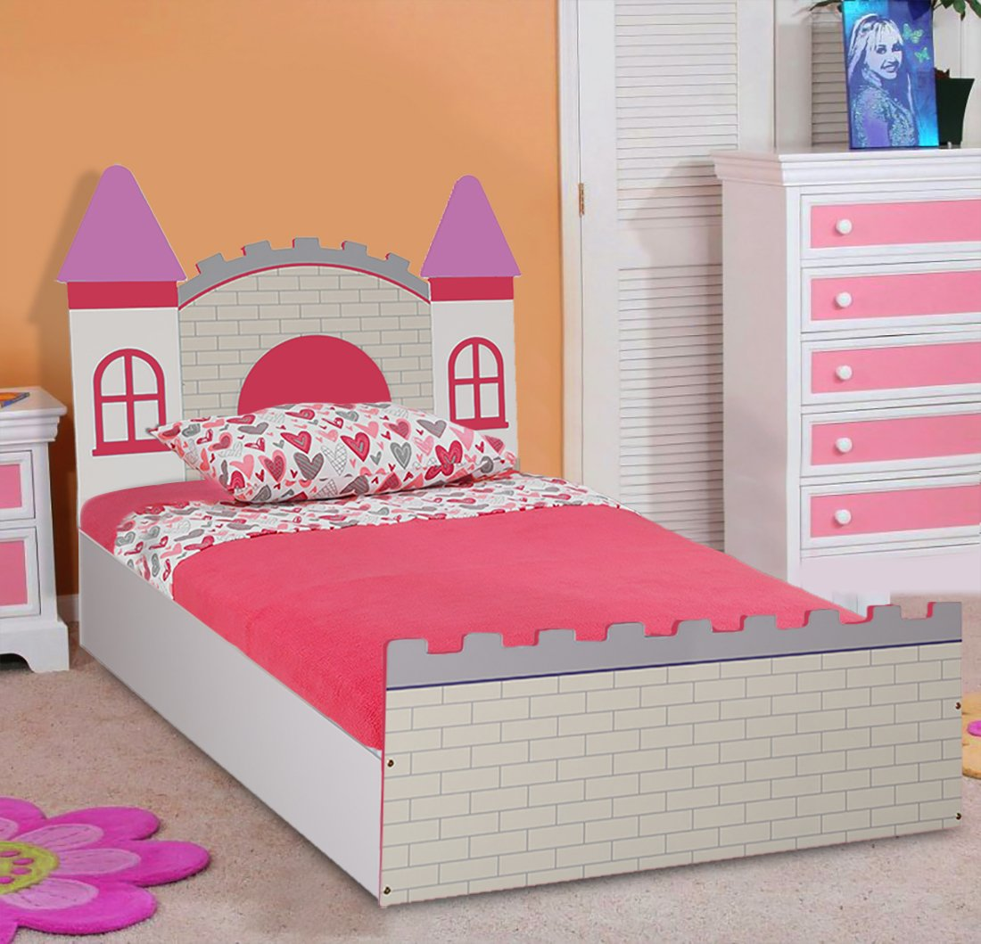 Hometown Castle Highgloss Kids Bed With Storage Pink