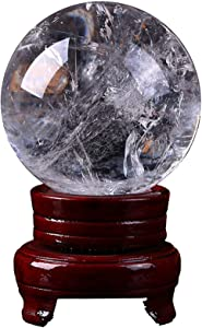 BAIYAN Garden Figurines, White Crystal Ball Feng Shui, Clear Crystal Ball for Decorative, Gazing Divination Or Feng Shui, and Fortune Telling Ball,6cm (Size : 6cm)