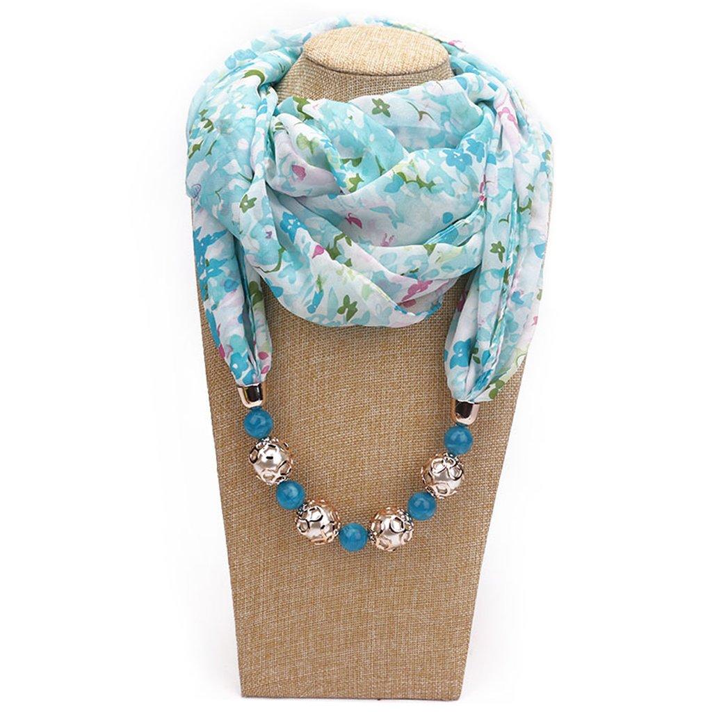 Pendente della Collana dei monili del Pendente della Collana Chiffona della Sciarpa della Stampa Floreale delle Donne Hijab Molle Verde Xuniu Sciarpa delle Donne