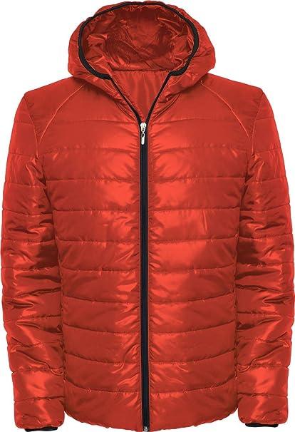 Chaqueta acolchada con relleno y capucha ajustada (XL, Rojo ...