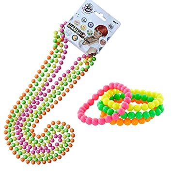 Beaded Bracelets /& Necklaces Neon Beads Ladies Fancy Dress Costume Accessories