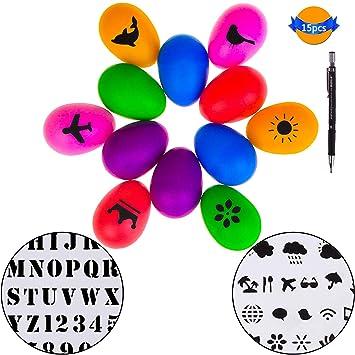 LOCOLO - Juego de 12 huevos de maracas de plástico, con plantillas para pintar y lápiz mecánico para niños, fiestas, juguetes musicales, ...