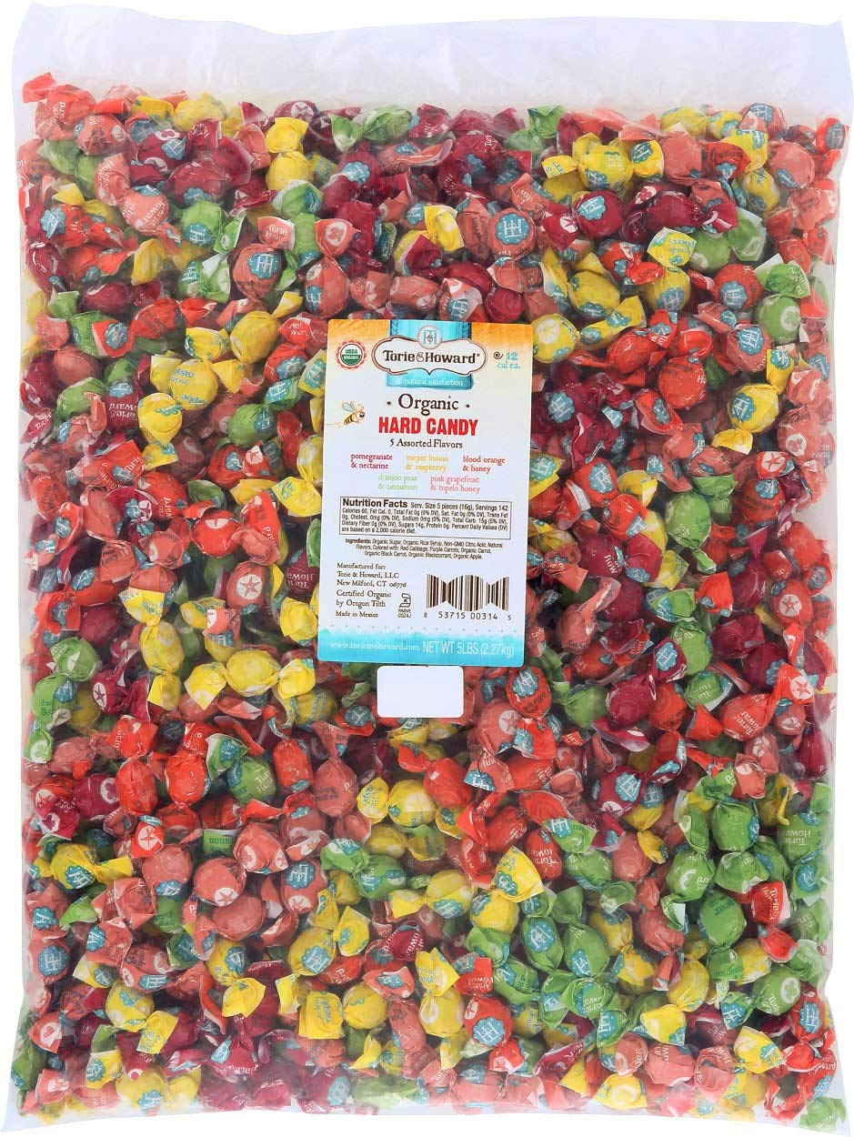 Torie and Howard Organic Hard Candy Bulk Candy, Five Assorted Flavors, 5 pound bag by Torie & Howard