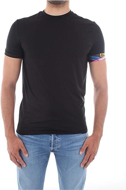A//I 2019 DSQUARED2 T-shirt nera con logo fantasia per uomo