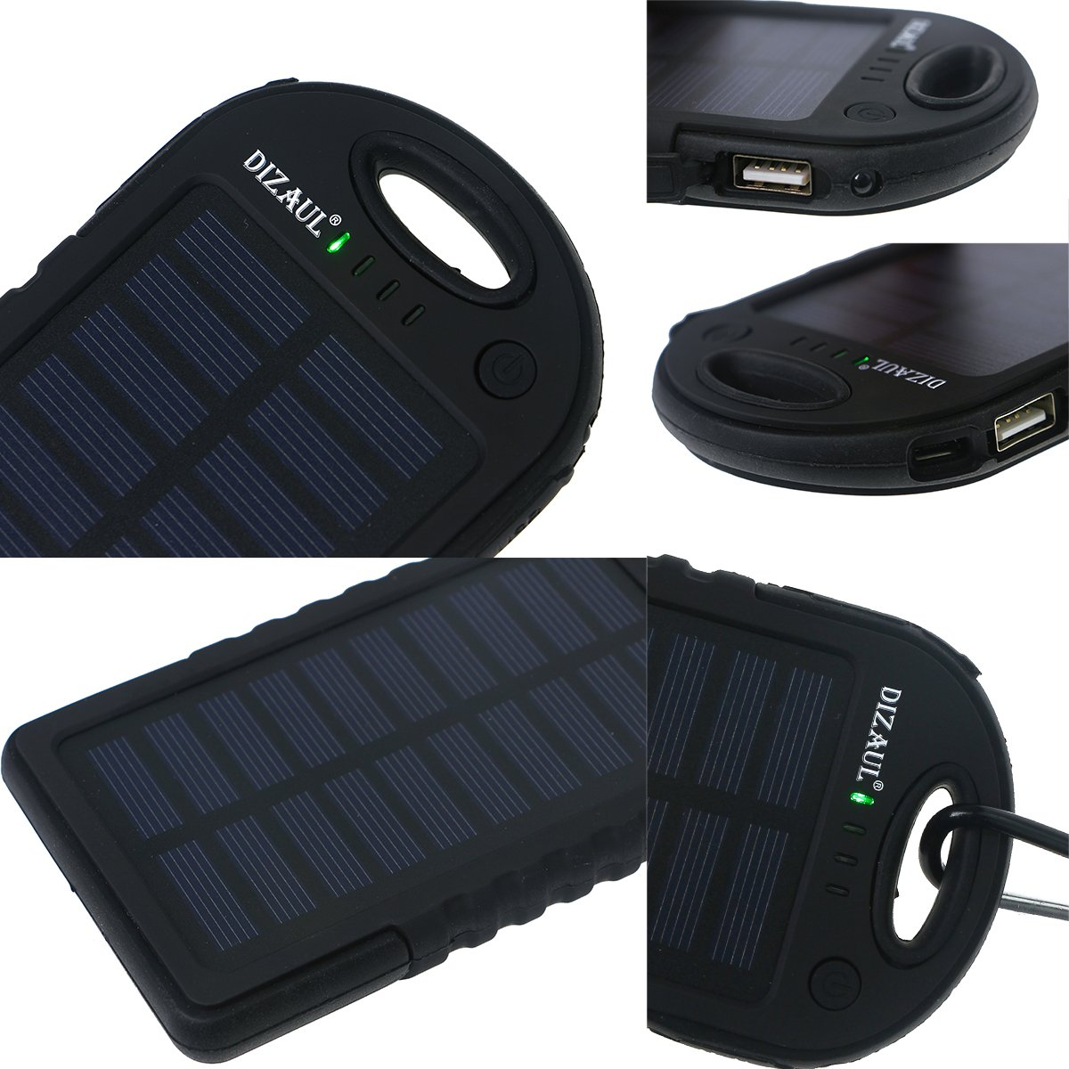 Solar Charger, Dizaul 5000mAh Portable Solar Power Bank Waterproof/Shockproof/Dustproof Dual USB Battery Bank for Cell Phone, Samsung, Android Phones, Windows Phones, GoPro Camera, GPS and More by dizauL (Image #3)
