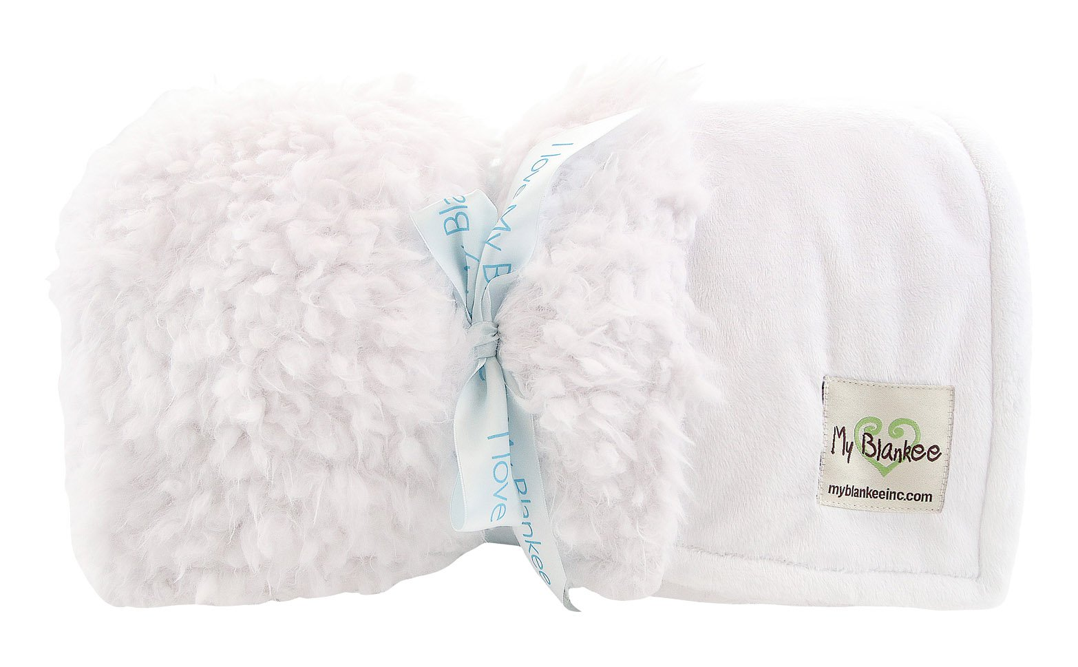 My Blankee Lama Fuzzy Throw Blanket with Minky Solid Back, White, 52''X 60''