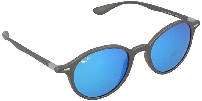 2b181fd38 Ray-Ban INJECTED UNISEX SUNGLASS - MATTE DARK GREY Frame GREY MIRROR BLUE Lenses  50mm