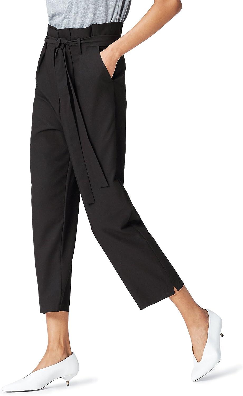 Marca Amazon - find. Check Paperbag Waist, Pantalón de Cuadros con Cintura de Fuelle Mujer