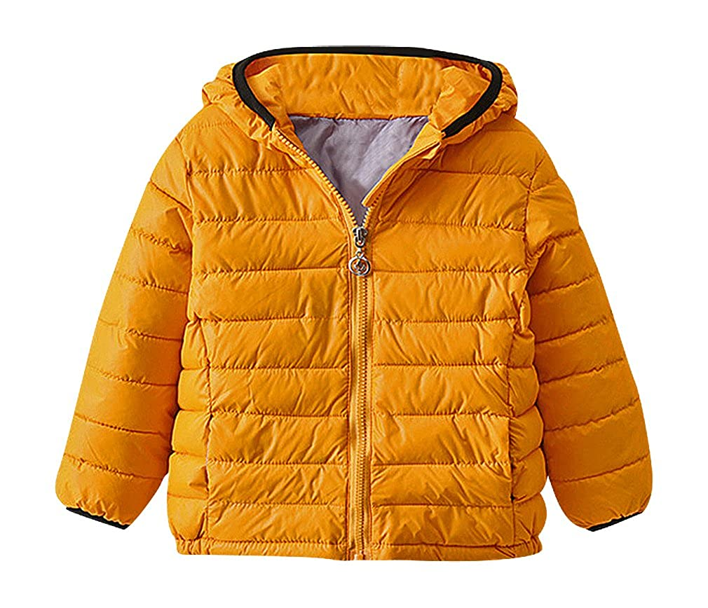 BPrince Kids Solid Color Quilted Zip Up Black Edge Lightweight Duck Down Jacket