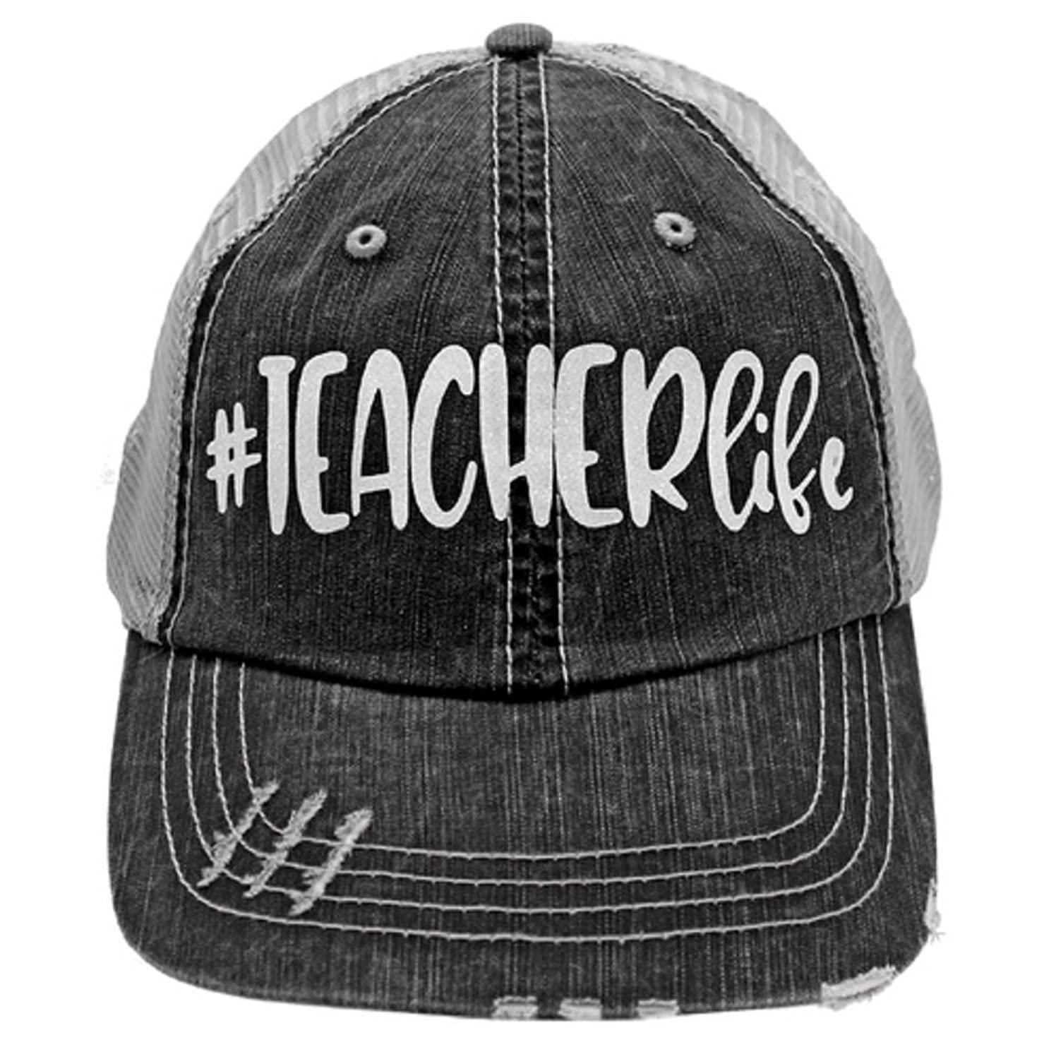 087df51923c Teacher Life In Glitter Print Women s Trucker Hat- Gray Mesh Back