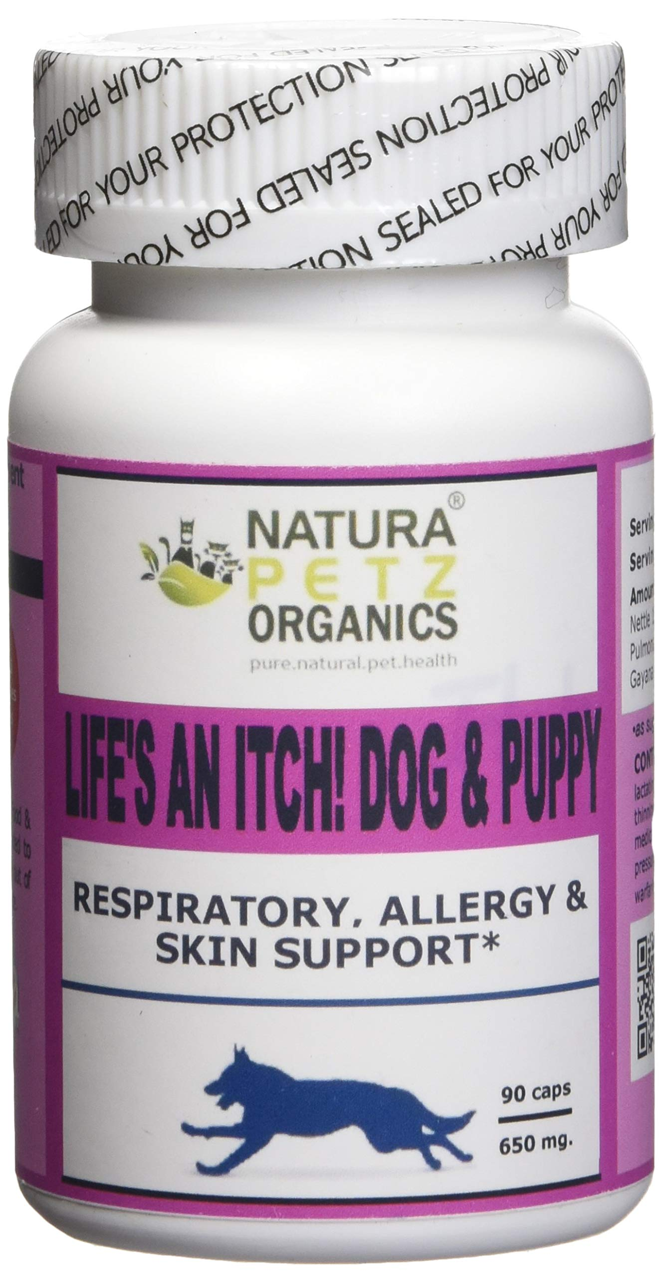 Natura Petz Organics Life's an Itch! Respiratory, Allergy & Skin Support for Dogs, 90 Capsule Count by Natura Petz Organics
