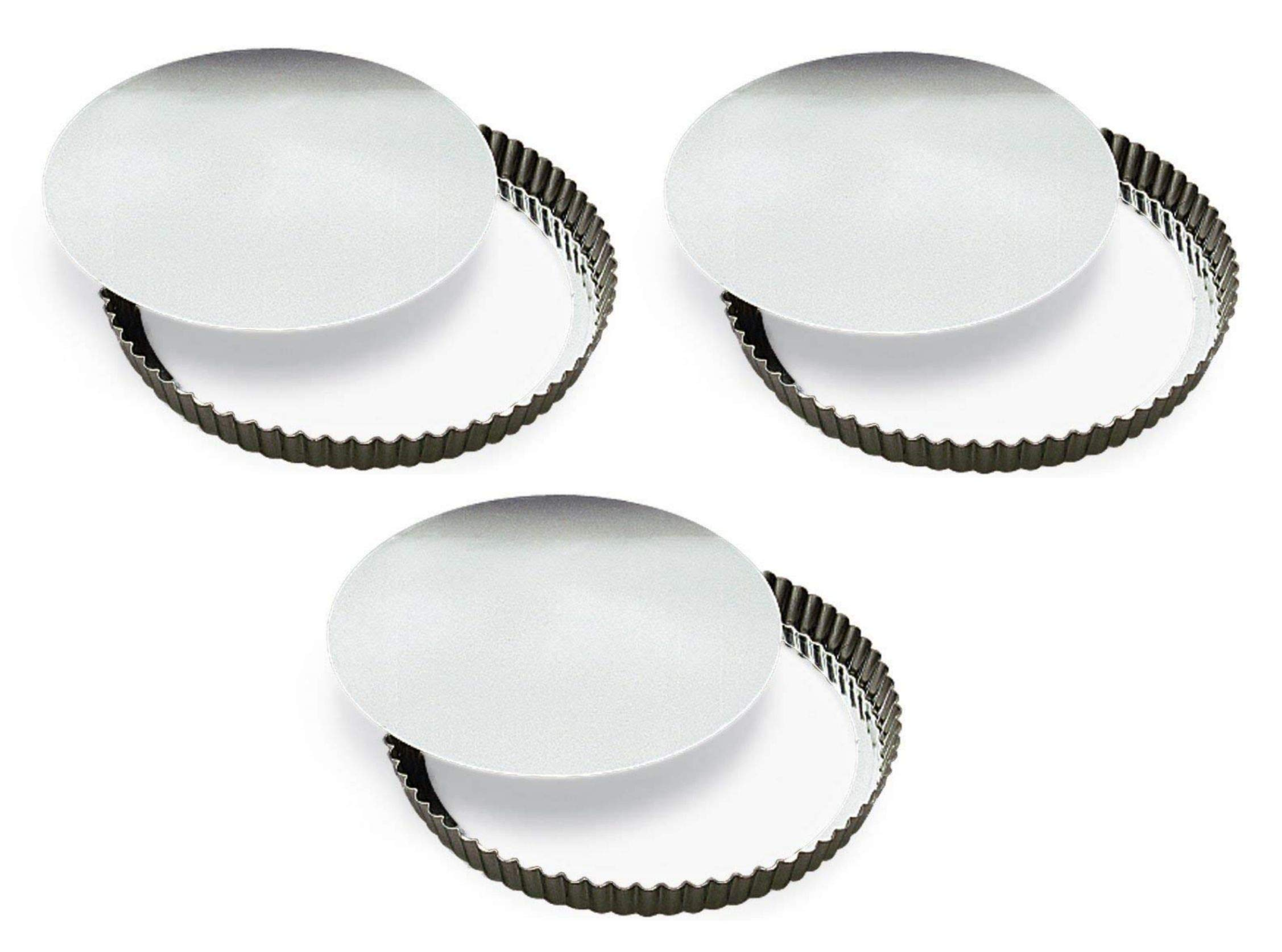 GOBEL 126640 11'' (28cm) / 1.40'' High - TIN Rem.Fluted Quiche Pan- SET OF 3 - [ GREAT VALUE! ]