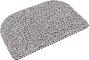 27X18 Inch Anti Fatigue Kitchen Rug Mats are Made of 100% Polypropylene Half Round Rug Cushion Specialized in Anti Slippery and Machine Washable (Grey 1pc)