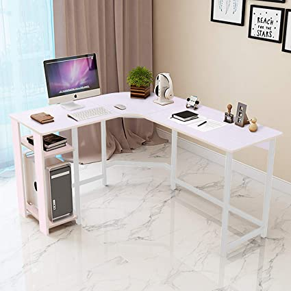 Jerry Maggie L Shaped Office Desk Computer Desk Table Personal Working Space Lapdesk Corner Set With Wood Surface Board Steel Frame Support For Adorable Computer Bedroom