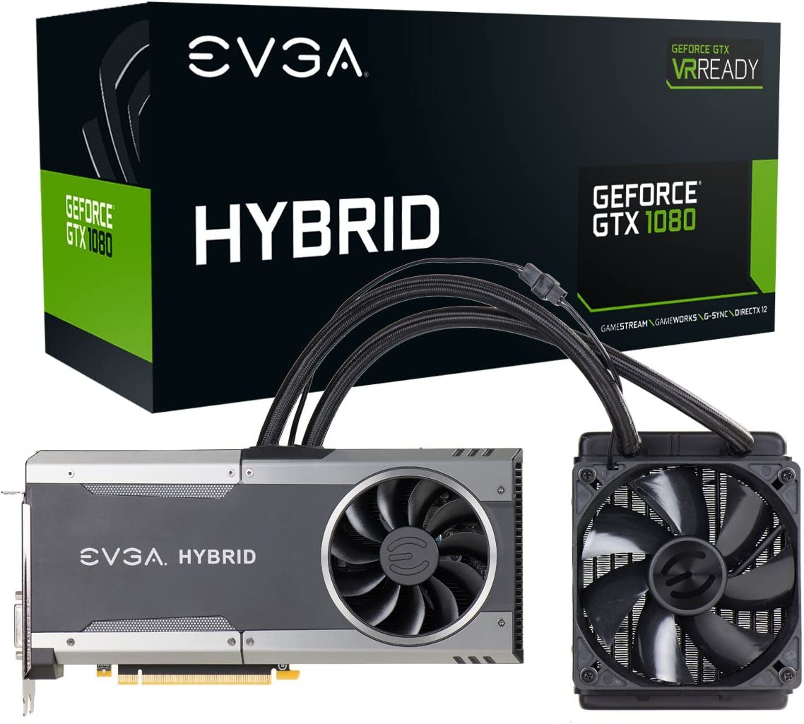 EVGA GeForce GTX 1080 FTW HYBRID GAMING, 8GB GDDR5X, RGB LED, All-In-One Watercooling with 10CM FAN, 10 Power Phases, Double BIOS, DX12 OSD Support (PXOC) 08G-P4-6288-KR