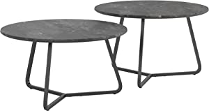 Coaster Home Furnishings Lennox 2-Piece Round Faux Slate and Matte Black Coffee Table Set