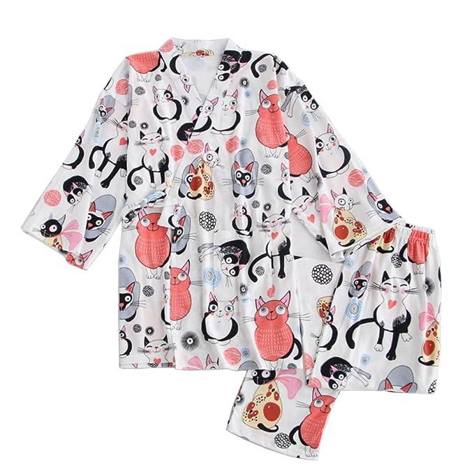 Vestido de algodón Estilo japonés para Mujer Kimono Pijama Traje de Gato B