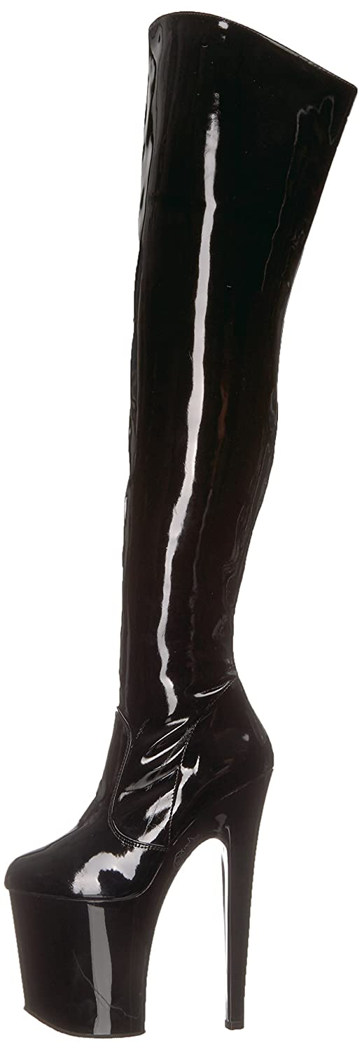 Pleaser Women's Xtreme-3010 Over The Knee Boot B000XUUOS0 11 B(M) US|Black Patent/Black