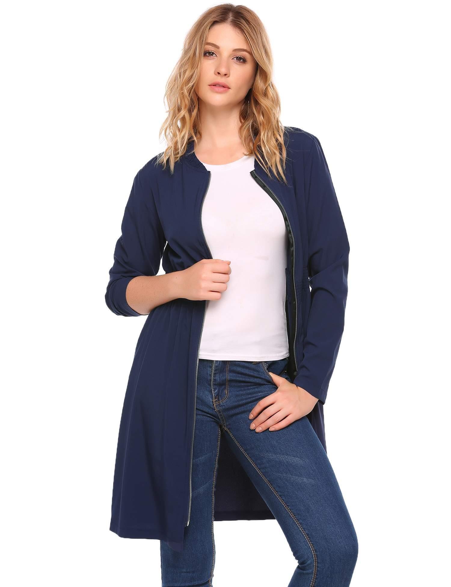 Zeagoo Women Summer Lightweight Trench Coat Long Sleeve Tunic Top Cardigan Navy Blue L