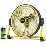 Geek Aire Fan, Battery Operated Floor Fan, Rechargeable Powered High Velocity Portable Fan with Metal Blade, Built-in Durable