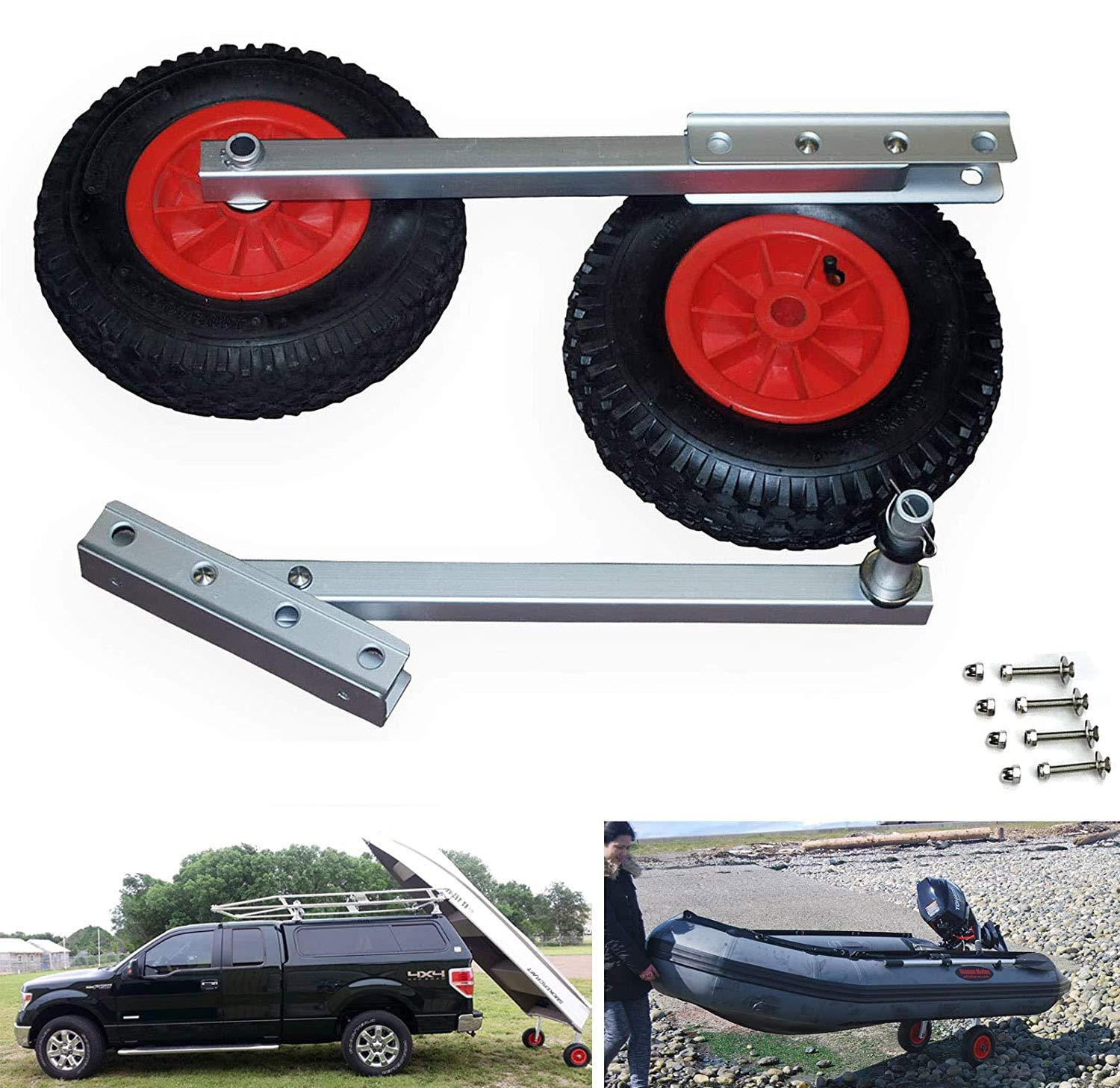 """SEAMAX Easy Load Boat Launching Wheels Set for Inflatable Boat & Aluminum Boat, with 12"""" Pneumatic Tire & Quick Released 2 Stages Position"""