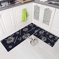 Gigicloud 2Pcs/Set Nonslip Floor Mat Oil Absorbent Long Kitchen Carpet Rug for Home Kitchen Crown 40 * 60+40 * 120cm