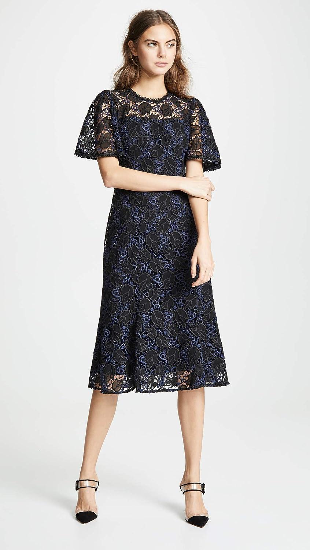 9416cef368f Marchesa Notte Guipure Lace Tea Length Trumpet Cocktail Dress | Saddha