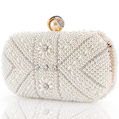 Image Unavailable. Image not available for. Color  Womens Luxurius Clutch  Evening Bags Full Beaded Artificial Pearls Rhinestone ... 3a57e79540eb2