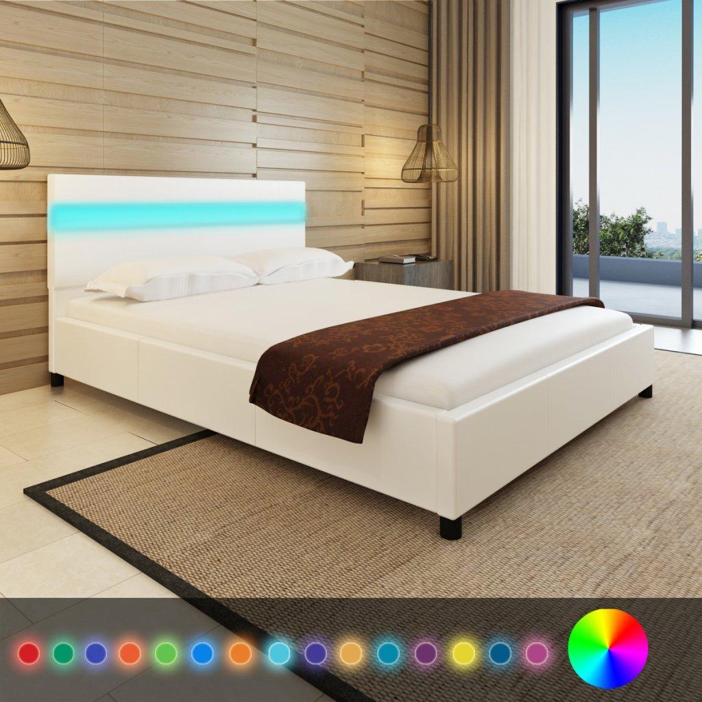 Anself Doppelbett Bett Ehebett Gästebett mit LED-Licht LED-Licht LED-Licht 140x200cm ohne Matratze Weiß 8cc550