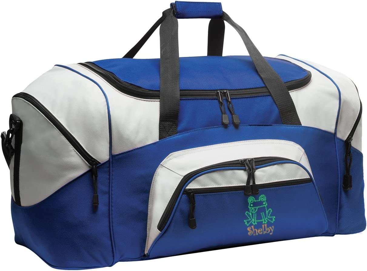 all about me company Colorblock Sport Duffel Bag True Royal//Grey Personalized Frog Gym Bag