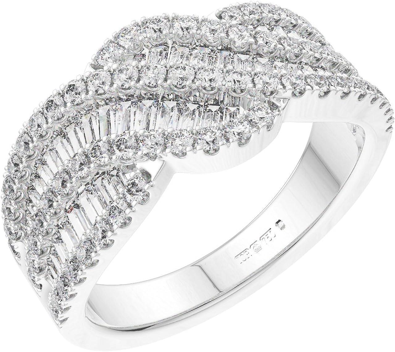 Anillo de vestido con diamantes de talla brillante y redondo de 1,51 quilates en oro blanco