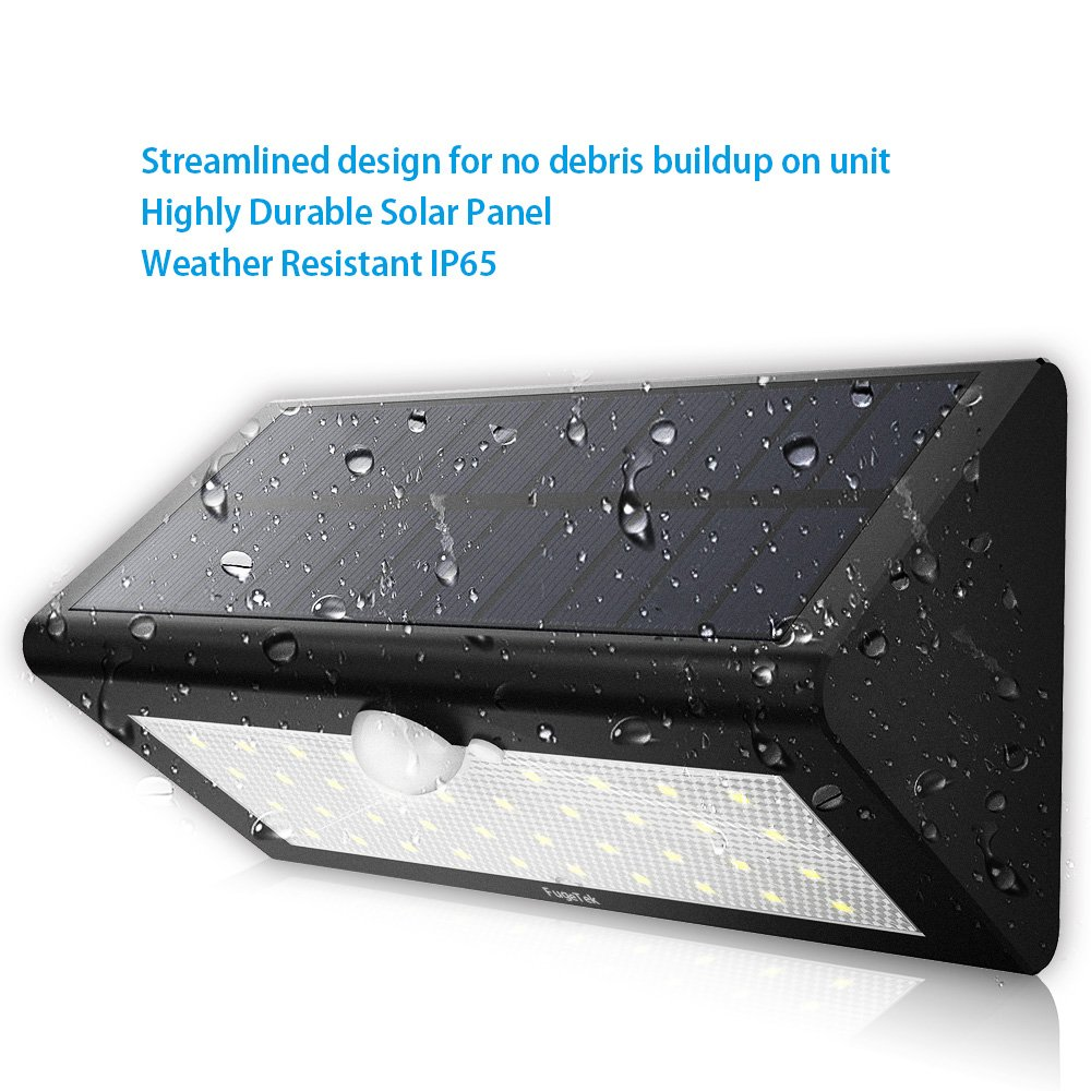 Solar Motion Sensor Light, Fugetek FT-38L, Super Bright 38 LED, Genuine LG Rechargeable Batteries, Solar Powered Wireless Water-proof Motion Activated Solar Energy Home Office Security Light